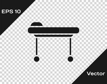 Black Stretcher Icon Isolated On Transparent Background. Patient Hospital Medical Stretcher. Vector Illustration