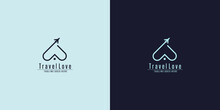 Abstract Blue And White Love Symbol Linear Style With Airplane On Dark Background , Usable Logo Concept For Business, Travel Agency, Tourism Logos.Flat Vector Logo Design Template Element.