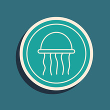 Green Jellyfish On A Plate Icon Isolated On Green Background. Long Shadow Style. Vector.
