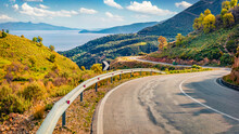 Typical Albanian View Of Adriatic Shore With Empty Asphalt Road. Picturesque Summer Day In Albania, Europe. Traveling Concept Background.