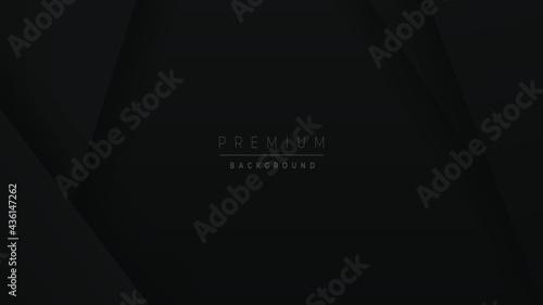 Billede på lærred Black Abstract clean Minimal elegant background design with 3d depth paper cut effect