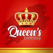 Queen's Birthday With Golden Crown. Vector Illustration Design.