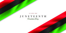 Juneteenth Freedom Day Vector Illustration With Waving Flag.