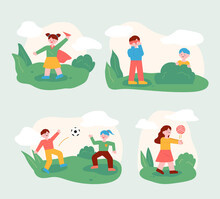 The Children Are Playing With Their Friends In The Park. Children Playing Ball Or Playing Hide-and-seek. Flat Design Style Minimal Vector Illustration.