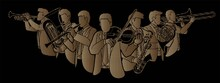 Group Of Musician Orchestra Instrument Cartoon Graphic Vector