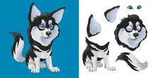 Husky. Cute Funny Black And White Dog Sits And Wags Its Tail. Cartoon Character. Classic Handmate Vector Illustration. Isolated. Dog For Animation