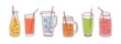 Set of detox drinks, fruit smoothies, organic lemonades in glass bottles, jars and jugs with straws. Refreshing summer homemade beverages. Colored flat vector illustration isolated on white background