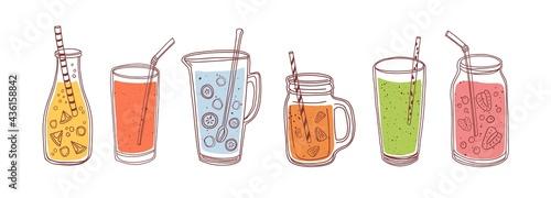 Fotografiet Set of detox drinks, fruit smoothies, organic lemonades in glass bottles, jars and jugs with straws