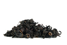 Pile Of Dried Rosella Flower ( Hibiscus Sabdariffa ) Isolated On White Background