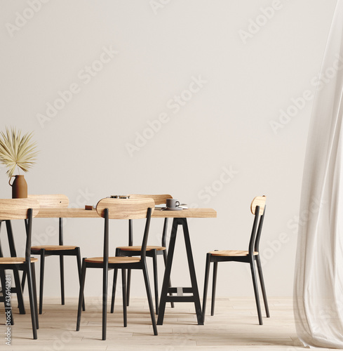 Dining room interior background, wall mock up, 3d render