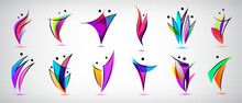 Vector Set Human Body Logos, People Shapes, Linear Colorful Stylezid Figures. Use For Fitness, Wellness, Sport Competitions, Other Activities Identity. Healthy Lifestyle, Dancing Icons