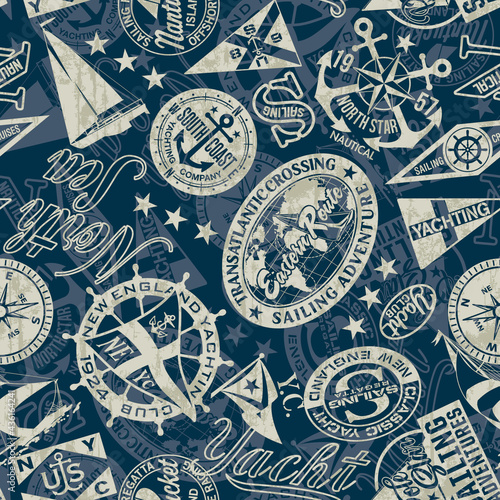 Obraz na plátně Nautical style marine sailing badges wallpaper vector seamless pattern grunge ef