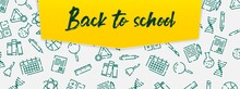School Banner Template. Welcome Back To School Text And Education Icon Set On Green Chalkboard