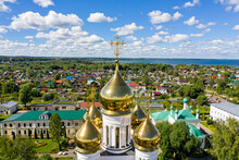 Pereslavl-Zalessky, Russia. Church Of The Annunciation Of The Most Holy Theotokos. Nikolsky Monastery. Nunnery. Aerial View