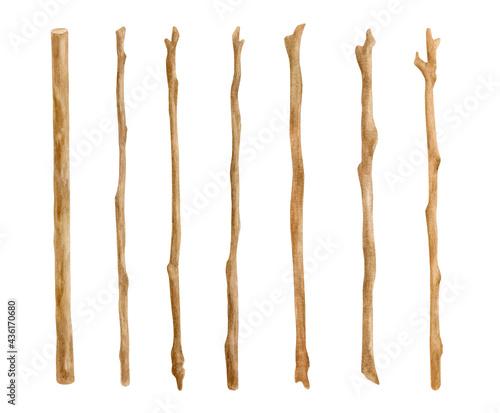 Fotografia Watercolor wooden sticks set