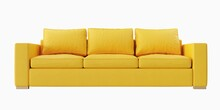 3 Seat Yellow Color Leather Sofa On White Background. Front View. Isolate Background.