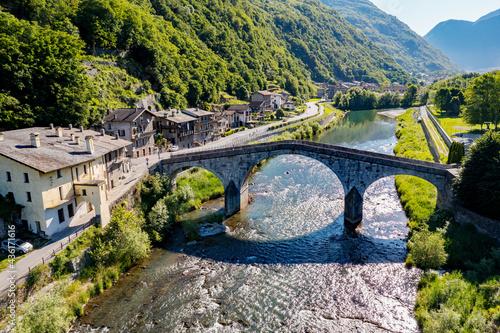Ganda bridge over the Adda river in the town of Morbegno in Valtellina, Italy