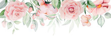 Watercolor Pink Flowers And Green Leaves Card Illustration