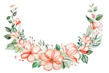 Watercolor Pink Flowers And Green Leaves Wreath Illustration