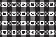 Bear Seamless Pattern Polar Bear Paw Checked Tartan Plaid Vector Footprint Cartoon Repeat Wallpaper Tile Background Doodle Scarf Isolated Illustration Design