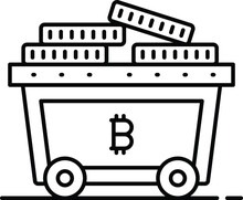 CryptoCurrency Mining Concept, Btc With Minecart Vector Icon Design, Business And Management Symbol, Banking And Finance Sign, ECommerce And Blockchain Stock Illustration