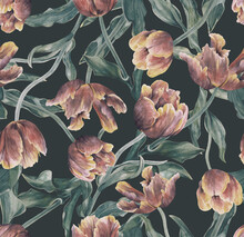 Watercolor Tulips. Seamless Floral Pattern. Background With Flowers