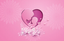 Happy Mothers Day Greeting Card With Pregnant Woman Paper Cut Paper Collage Style With Digital Craft