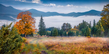 Calm Morning View Of Mountain Valley With Old Country Road. Spectacular Autumn Scene Of Carpathian Mountains. Wonderful Landscape Of Countryside. Beautiful Autumn Scenery.