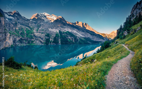 Fotografiet Spectacular summer view of unique Oeschinensee Lake