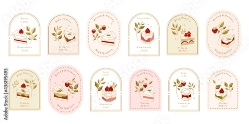 Canvas Collection of Vintage Cake Logo and Food Label with Strawberry, Frame, & Floral