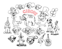 Circus, Set Of Funny Clowns.