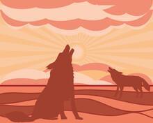 Silhouette Wolves Howling At Moon