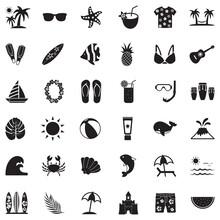 Tropical Icons. Black Flat Design. Vector Illustration.