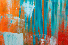 Creative Background, A Spot Of  Colored Primer Rubbed On The Surface Of A Linen Canvas, Temporary Object, Close, Toning