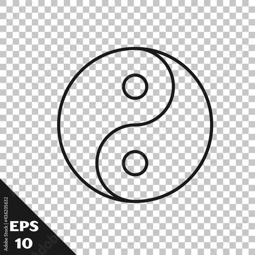 Fototapeta Black line Yin Yang symbol of harmony and balance icon isolated on transparent background