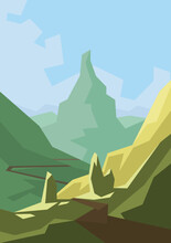 Poster With The Road On The Mountains. Landscape Illustration. Switzerland Nature