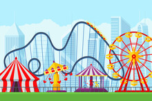 Amusement Park With Circus Carousels Roller Coaster And Attractions Entertainment In City. Fun Fair And Carnival Theme Landscape. Ferris Wheel And Merry-go-round Festival Vector Illustration