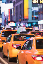 Row Of Yellow Cabs In Times Square