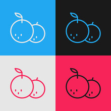 Pop Art Line Tangerine Icon Isolated On Color Background. Merry Christmas And Happy New Year. Vector