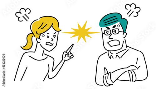 Foto 激しく喧嘩する若いカップルのイラスト素材