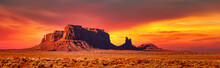 Sunset In The Monument Valley In Utah And Arizona