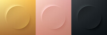 Set Of Gold, Rose Gold, Black Frame Design. Abstract 3D Circle Backdrop For Cosmetic Product. Collection Of Luxury Geometric Background With Copy Space. Top View. EPS10 Vector