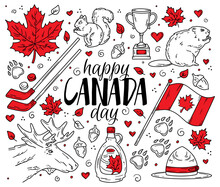 Happy National Day Of Canada, A Set Of Traditional Symbols And Icons In The Doodle Sketch Style. Vector Concept For Greeting Cards, Banners And Posters. Flag, Maple Leaves And Animals.