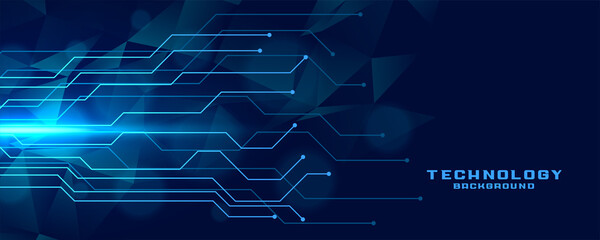 digital circuit lines technology banner design