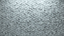 Futuristic, Triangular Wall Background With Tiles. Polished, Tile Wallpaper With Concrete, 3D Blocks. 3D Render