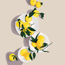 Fresh Realistic Lemons With Leaves.Texture For Print, Fabric, Textile, Wallpaper, Wall Decor. Colorful Vector Illustration. Spring, Summer Concept Background.