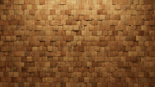 Timber, Natural Wall Background With Tiles. Wood, Tile Wallpaper With Square, 3D Blocks. 3D Render