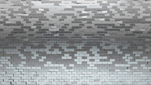 Rectangular, Silver Wall Background With Tiles. Polished, Tile Wallpaper With 3D, Luxurious Blocks. 3D Render