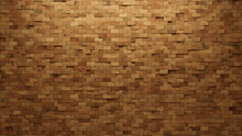 3D, Timber Wall Background With Tiles. Wood, Tile Wallpaper With Natural, Rectangular Blocks. 3D Render