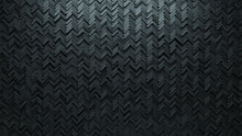 Polished, Concrete Wall Background With Tiles. Herringbone, Tile Wallpaper With Futuristic, 3D Blocks. 3D Render